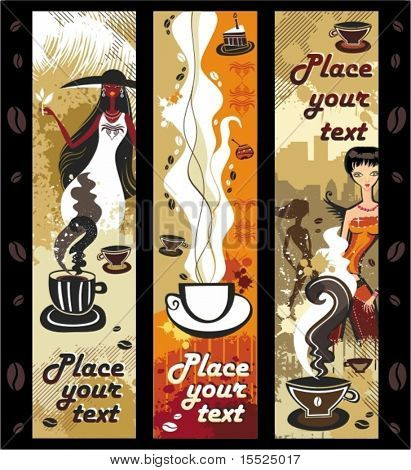 Coffee girls banners. To see similar, please VISIT MY PORTFOLIO
