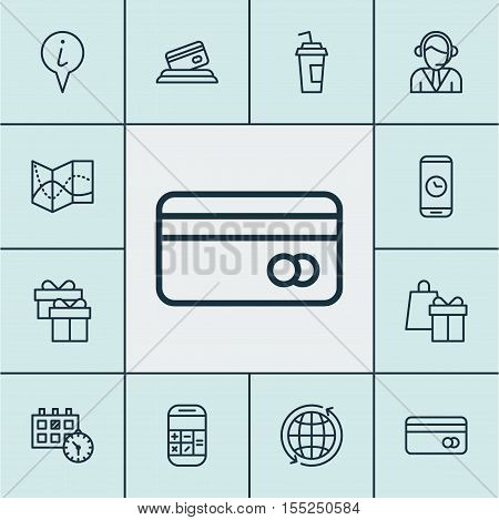 Set Of Traveling Icons On Road Map, Plastic Card And World Topics. Editable Vector Illustration. Inc