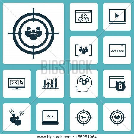 Set Of Marketing Icons On Keyword Marketing, Video Player And Focus Group Topics. Editable Vector Il