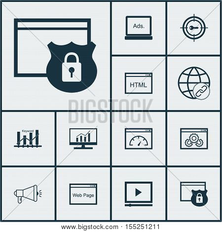 Set Of Seo Icons On Keyword Marketing, Website Performance And Coding Topics. Editable Vector Illust