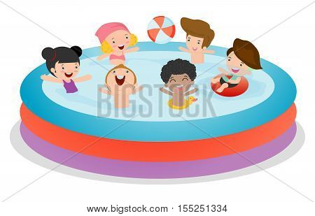 Kids in a Swimming Pool, children for summer season. Kid inflatable pool, child swimming in the pool, Vector Illustration