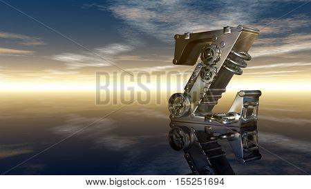 machine letter z under cloudy sky - 3d illustration