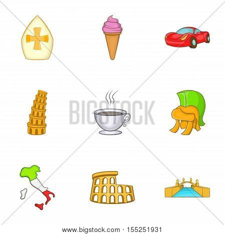 Trip to Italy icons set. Cartoon illustration of 9 trip to Italy vector icons for web