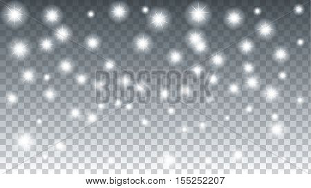 Winter. Snowflakes sparkle abstract background. Christmas Holiday banner. Vector Illustration. Transparency background with light effect.