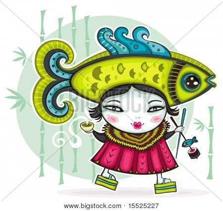 Funny Japanese girl wearing funny Fish hat holding cup of green tea and chopsticks with sushi