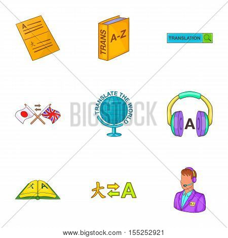 Translation of language icons set. Cartoon illustration of 9 translation of language vector icons for web