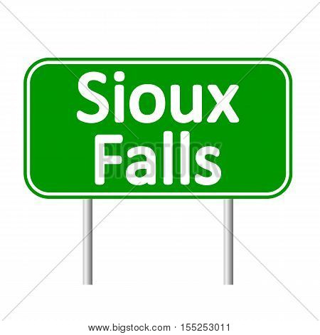 Sioux Falls green road sign isolated on white background
