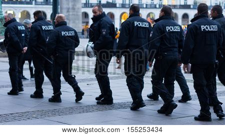 Hamburg, Germany - November 04, 2016: Police patrolling in Hamburg, Germany.
