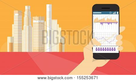 Hand Hold Cell Smart Phone Application Online Finance Business Graph Banner Flat Vector Illustration