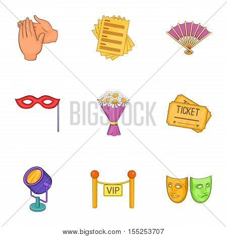 Theatrical performance icons set. Cartoon illustration of 9 theatrical performance vector icons for web
