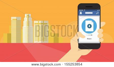 Hand Hold Cell Smart Phone Application Online Retain Download File Banner Flat Vector Illustration