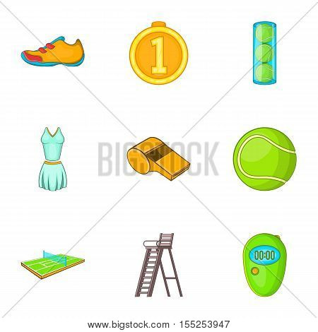Sport with racket icons set. Cartoon illustration of 9 sport with racket vector icons for web