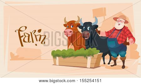 Farmer Breeding Animals Cow Farmland Background Flat Vector Illustration