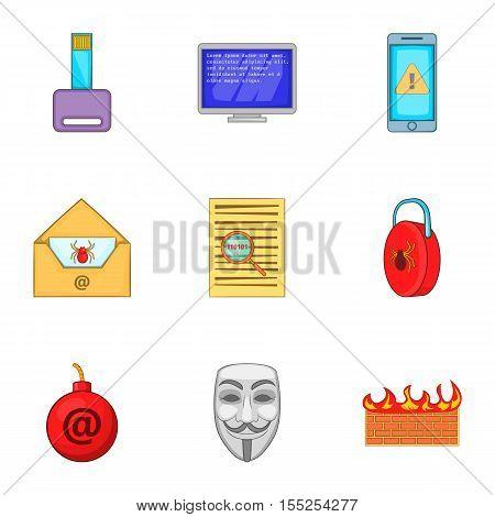 Online virus icons set. Cartoon illustration of 9 online virus vector icons for web