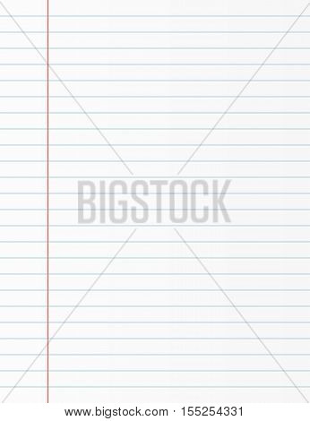School notebook paper sheet. Exercise book page background. Lined notepad backdrop. Vector illustration