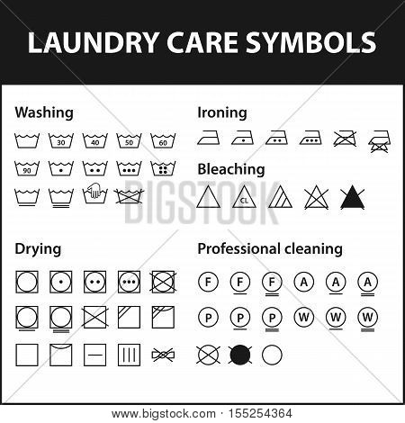 Icon set of laundry symbols. Washing instruction symbols. Cloth, Textile Care signs collection. Vector illustration