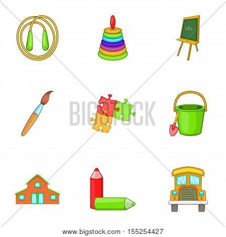 School years icons set. Cartoon illustration of 9 school years vector icons for web