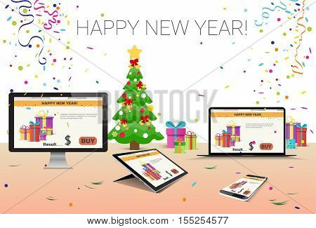 Decorated Workplace Computer Tablet Laptop Smart Phone Happy New Year Decoration Flat Vector Illustration