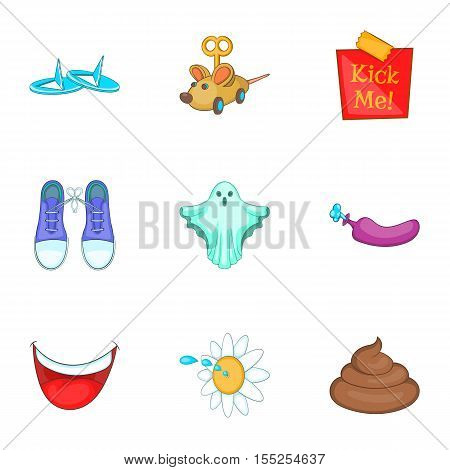 April fools joke icons set. Cartoon illustration of 9 april fools joke vector icons for web
