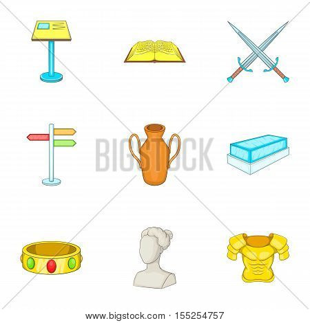 Historical museum icons set. Cartoon illustration of 9 historical museum vector icons for web