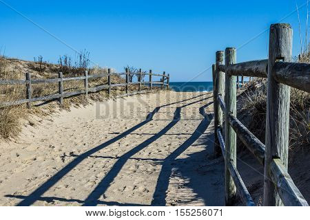 Fencing along footpath to beach at Sandbridge Beach in Virginia Beach, Virginia.