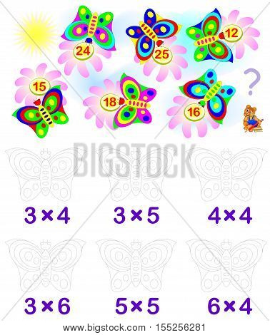 Exercise for children with multiplication. Solve examples and paint each butterfly in relevant color. Vector image.