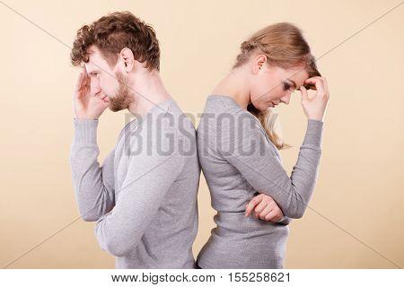 Sad Depressed Couple Portrait.