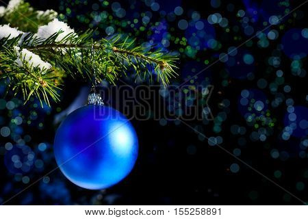 Forest Christmas tree branch with blue ornament. Christmas tree and Christmas decoration. Christmas greeting background. Copy space.