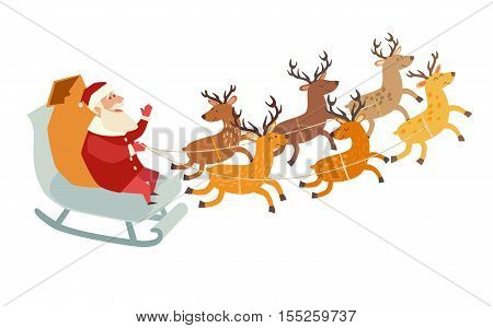 Santa Claus with deer Christmas holiday. Santa driving sleigh on winter night. Santa Claus character. Vector illustration isolated on white backgroundcartoon style