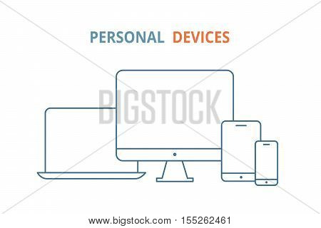 Modern electronic devices. Line style illustration of  laptop, pc, tablet and phone. Line vector icon for websites and mobile minimalistic flat design.