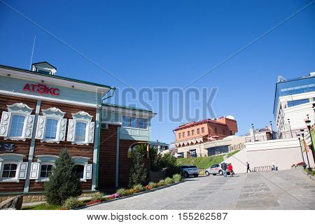 IRKUTSK RUSSIA - 18 SEPTEMBER 2016: View of the Irkutsk Sloboda (130 Quarter) Russia.