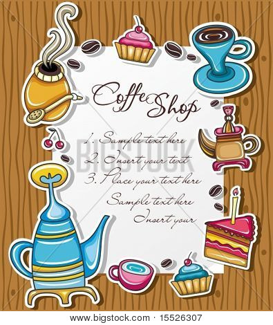 Cute grunge frame with coffee, tea, cake, yerba symbols, isolated on wooden background.