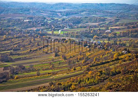 Aerial autumn view of vineyard region of Prigorje Croatia