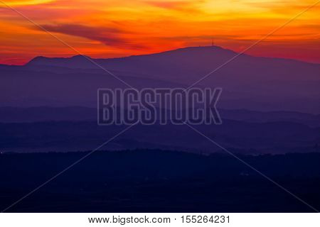 Colorful sunset layers of Prigorje region northern Croatia