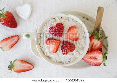 Love Heart Porridge Oatmeal Breakfast, Fun Valentines Breakfast