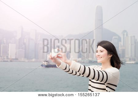 beauty woman smile and selfie in hongkong