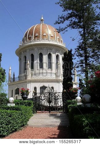 Shrine of Bab in Bahai Gardens in Haifa Israel