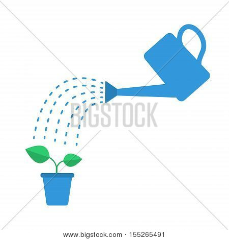 Watering plant with watering can. Flat vector illustration