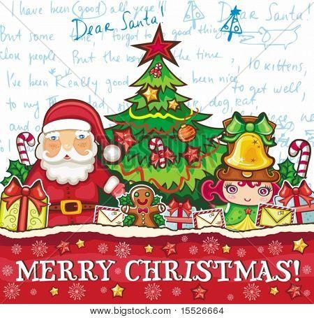 Thema Weihnachten: Weihnachtsmann, süße Mädchen und viel Weihnachtsschmuck.