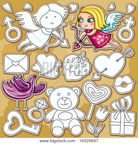 Decorative valentine elements:cute cupids shooting arrows,  chocolate dipped strawberry, heartshaped  lollipop, loveletter , key,  teddybear, diamond, ring, present, heart with arrow through,
