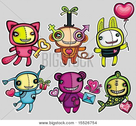 Valentine's day vector animals.kitty with key to your heart, monkey with gender signs, rabbit with pink balloon, doll with gift, teddy bear with heart shaped lollipop, love letter, fish, with diamond
