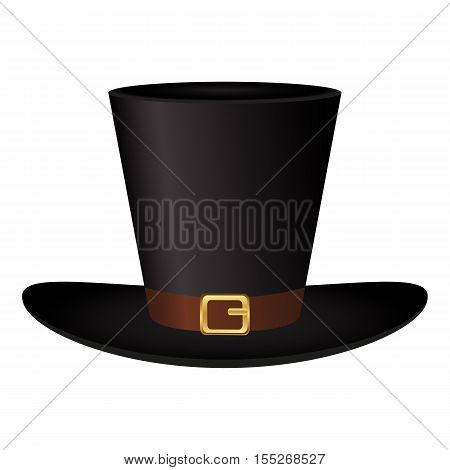 Black hat with a gold buckle on a white background vector