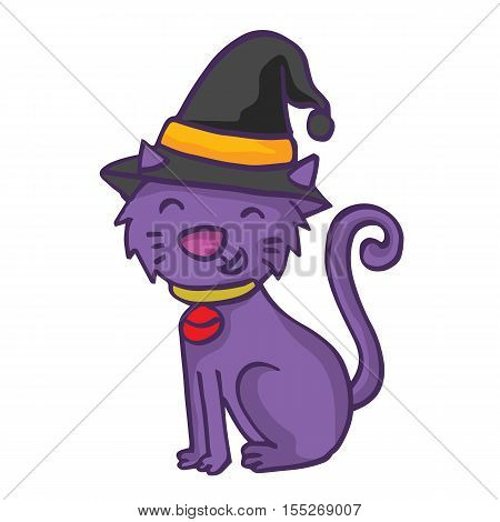 Witch cat cartoon funny collection stock vector illustration