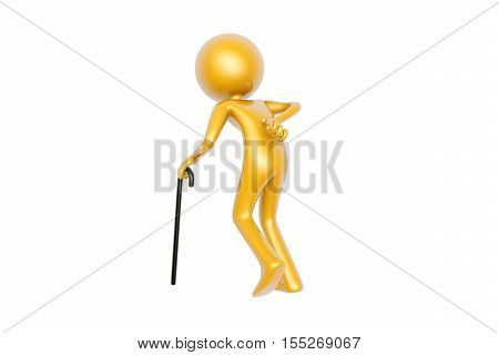 golden old guy with walking stick isolated on white background 3d illustration