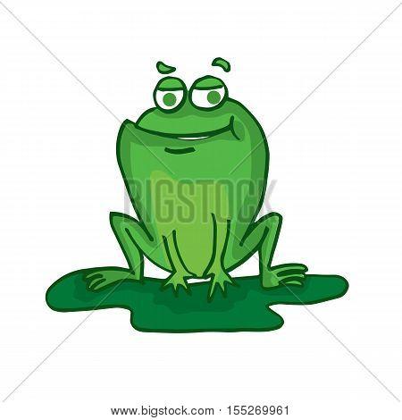 Cute frog cartoon collection stock vector illustration