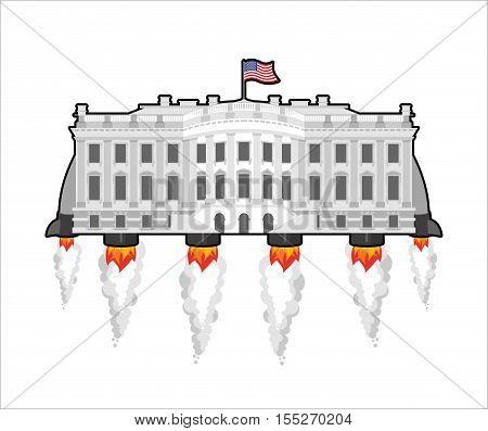 White housefuture with rocket turbo. USA President Residence in space. American National Palace flies. Government building connected.