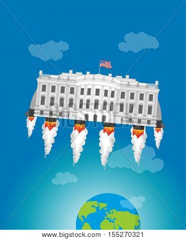 White house in space. USA President Residence rocket turbo. American National Palace flies.