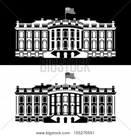 White House America black and white icon. Residence of President USA