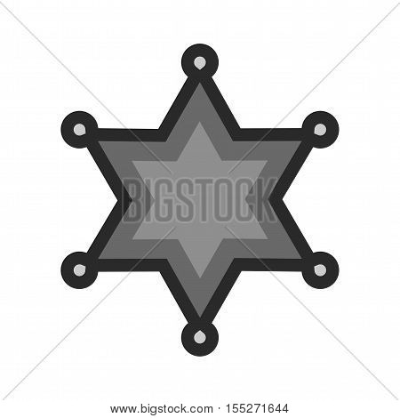Badge, sheriff, star icon vector image. Can also be used for wild west. Suitable for mobile apps, web apps and print media.
