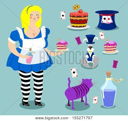Alice in Wonderland icon set. Fat woman and cat. Rabbit in hat. Cylinder is Mad Hatter. Magic Potion and piece of cake
